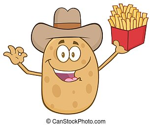 Cowboy Potato Character Gesturing Ok And Holding A French...