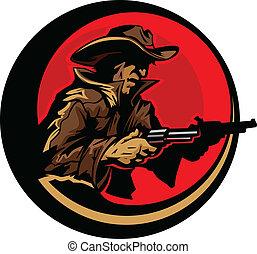 Cowboy Profile Aiming Guns Mascot - Graphic Mascot Image of...