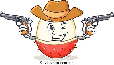 Cowboy rambutan character cartoon style