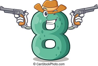Cowboy raster version cartoon shaped Number Eight