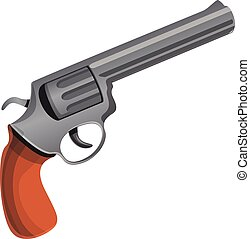 Cowboy revolver icon, cartoon style