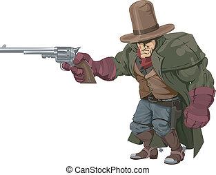cowboy, revolverheld, mit, pistole