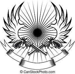 Cowboy revolvers with wings and ribbon for heraldic or tattoo design