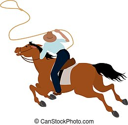 Cowboy rider on the horse throwing lasso illustration Wild West