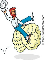 Cowboy riding a brain in mind rodeo