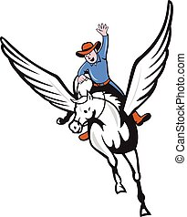Cowboy Riding Pegasus Flying Horse Cartoon - Illustration of...