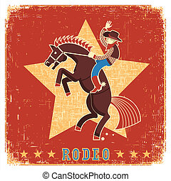Cowboy riding rodeo with horse