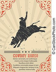 Cowboy riding wild bull.Vector western poster background