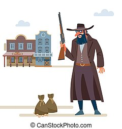 Cowboy robbed a Bank. The Old Wild West. Cartoon vector illustration. Flat style. Isolated on white background