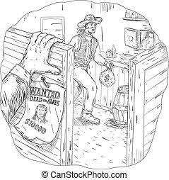 Cowboy Robbing Saloon Drawing