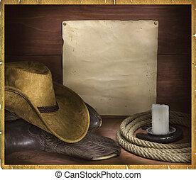 cowboy, rodeo, achtergrond, voor, tekst