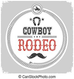 cowboy rodeo label with cowboy decotarion isolated on white.