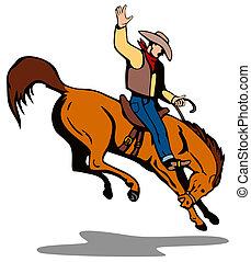 cowboy, rodeo, paardrijden