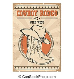 Cowboy rodeo poster.Western vintage illustration with text
