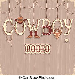 Cowboy rodeo text background