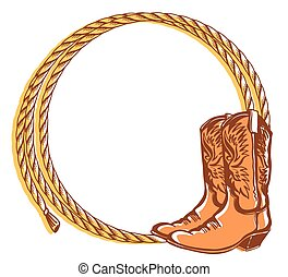 Cowboy rope frame with Cowboy boots. Vector color illustration cowboy background for text