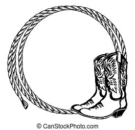 Cowboy rope frame with Cowboy boots. Vector illustration cowboy background for text