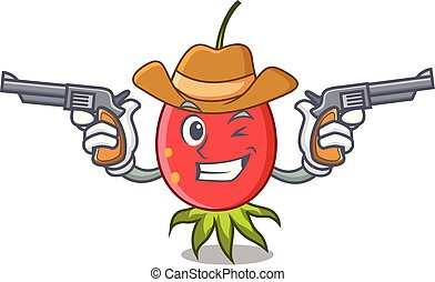 Cowboy rosehip character cartoon style vector illustration