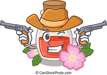 Cowboy rosehip seed oil in cartoon bottle vector ...