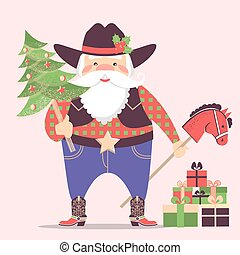 Cowboy Santa Claus in western hat and holiday gifts .Vector christmas illustration