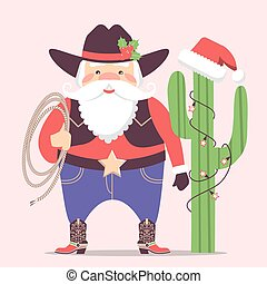 Cowboy Santa Claus with western hat and cactus decorations .Vector christmas illustration