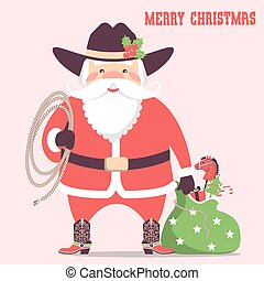Cowboy Santa claus with western hat and holiday gifts .Vector christmas card illustration