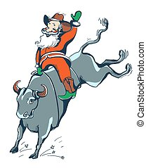 Cowboy Santa on the Rodeo. Western rodeo bull riding color ...