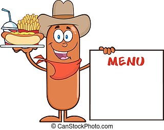Cowboy Sausage Cartoon Character Carrying A Hot Dog