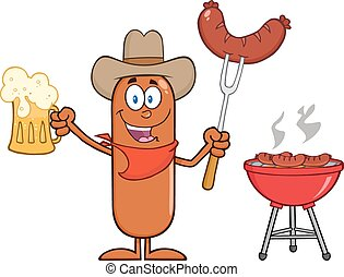 Cowboy Sausage Holding A Beer
