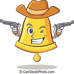 Cowboy school bell character cartoon