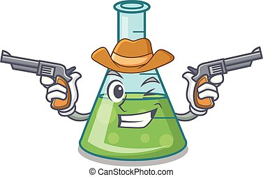Cowboy science beaker character cartoon
