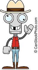 cowboy, sciocco, robot, cartone animato