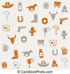 cowboy, seamless, mønster