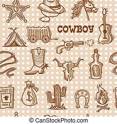 cowboy, seamless, muster