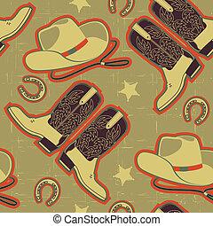 cowboy, seamless, muster, für, background.vintage, abbildung