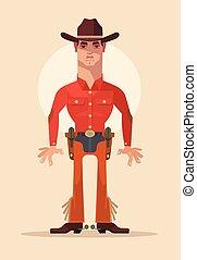 Cowboy sheriff character. Vector flat cartoon illustration