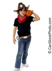 Cowboy Sheriff with a Pumpkin