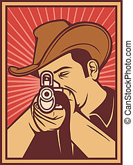 cowboy shooting a rifle