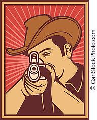 cowboy shooting a rifle (cowboy pointing his rifle, cowboy ...