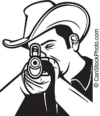 cowboy shooting a rifle (cowboy pointing his rifle, cowboy...