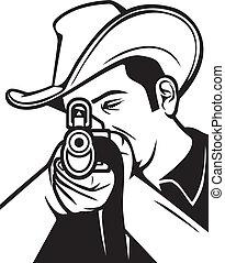 cowboy shooting a rifle (cowboy pointing his rifle, cowboy...