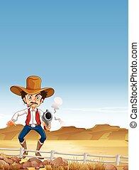 Cowboy shooting gun in the field