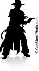 Cowboy Silhouette - A silhouette cowboy bandit character ...