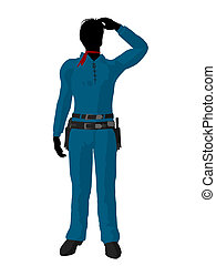 Cowboy Silhouette  - Cowboy silhouette on a white background