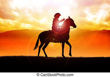 Cowboy - Silhouette illustration of a cowboy riding a horse...
