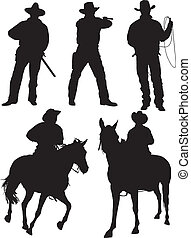 Cowboy Silhouette on white background