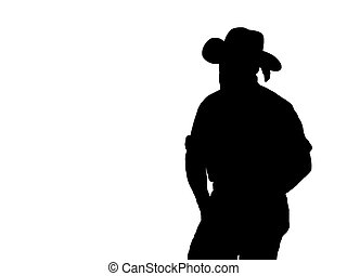 Cowboy Silhouette On White