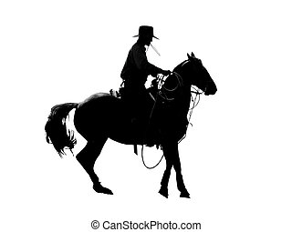 Cowboy Silhouette - Silhouette of a cowboy with his ropes,...