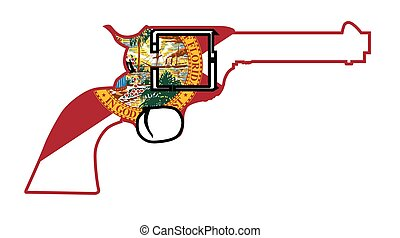 A wild west revolver in silhouette outline with the Florida flag below