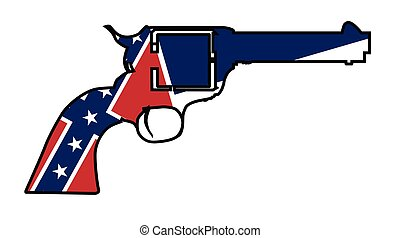 A wild west revolver in silhouette outline with the Mississippi flag below